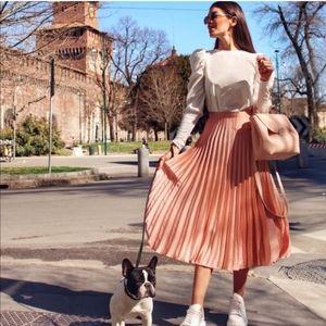 Zara Peachy Pink Pleated Satin Skirt